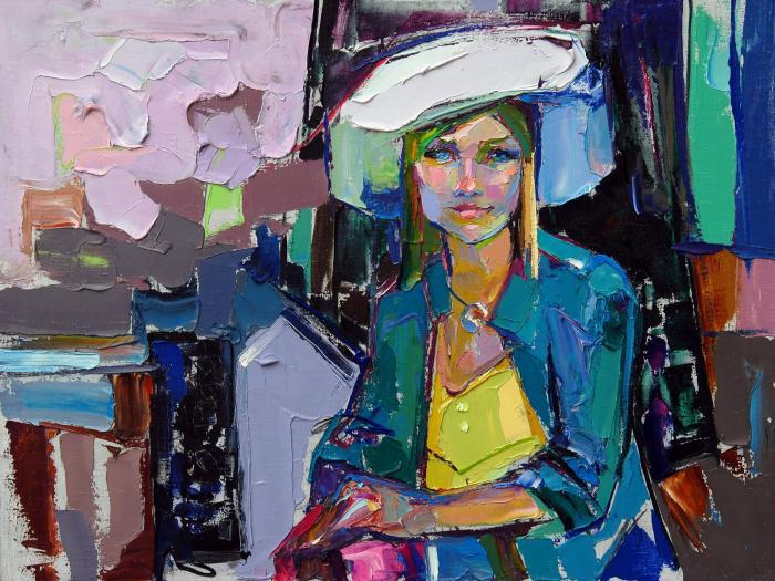 Darya In The White Hat. 90х120cm. Oil on canvas. 2012