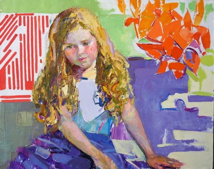Golden curls. 80х100cm. Oil on canvas. 2015