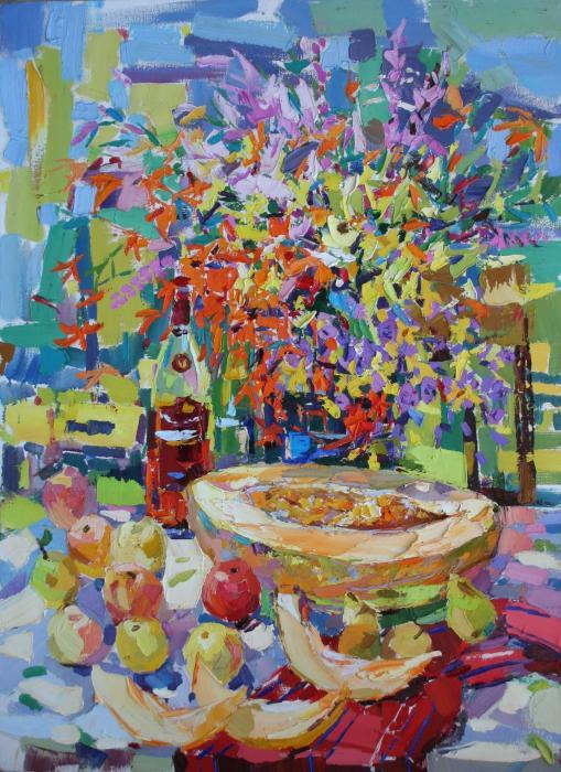 Still Life With a Melon 110х81cm. Oil on canvas.  2006