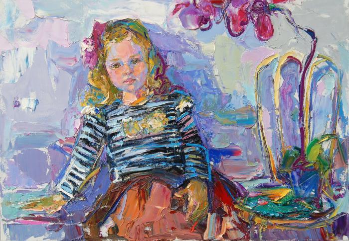 Varya (portrait of daughter). 60х90cm. Oil on canvas. 2013