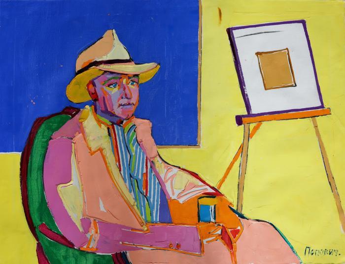 Portrait of art critic Peter Navitski. 98х130cm. Oil on canvas. 2013