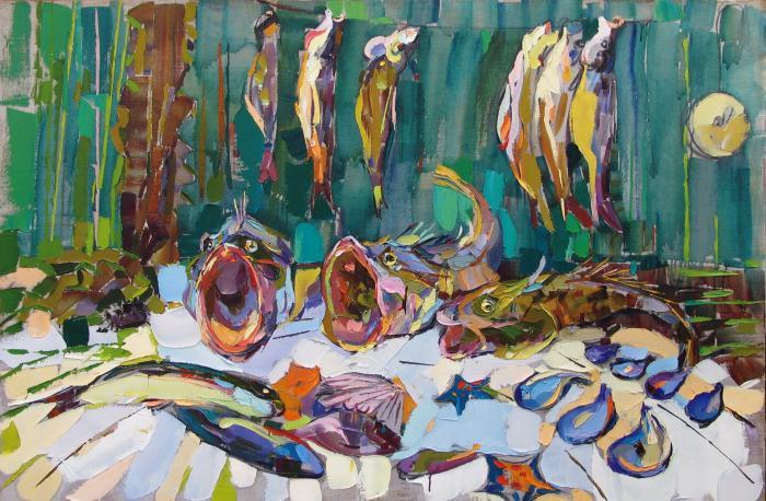 Singing Fishes. 100х150cm. Oil on canvas. 2006