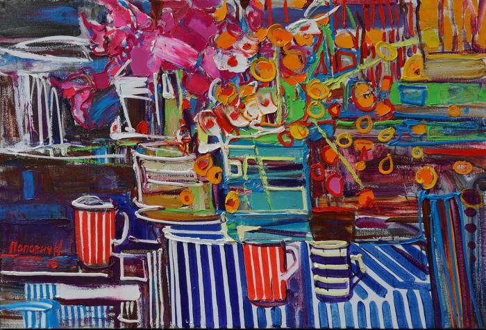 Flowers and stripes. 78х120cm. Oil on canvas. 2016