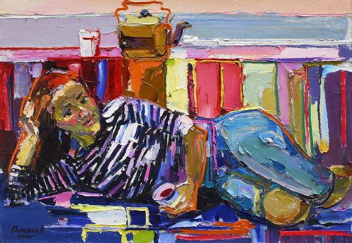 The teapot and wine. 90х120cm. Oil on canvas. 2010