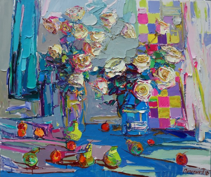Tea roses. 110х130cm. Oil on canvas. 2016