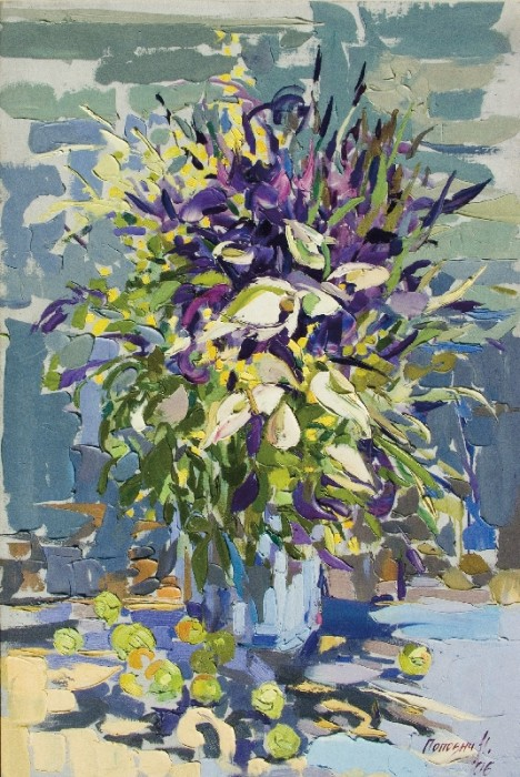 A Bunch of irises, 2006, canvas, oil painting, 100х150