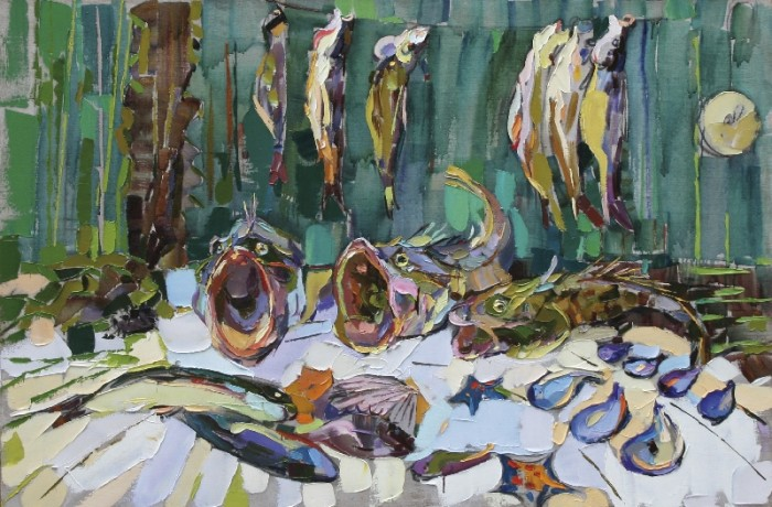 The Singing fishes, 2006, canvas, oil painting, 100х150